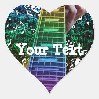 Rainbow Heart Guitar Notes Personal Music Sticker