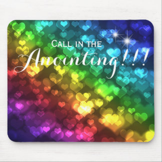 Rainbow Heart Lights Call in the Anointing Blessin Mouse Pad