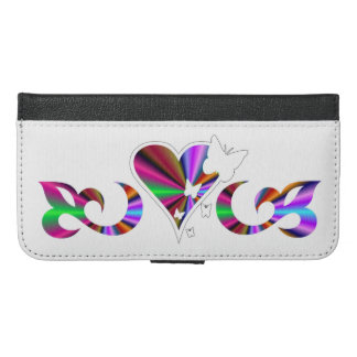 Rainbow Heart Lily and Butterfly iPhone 6/6s Plus Wallet Case