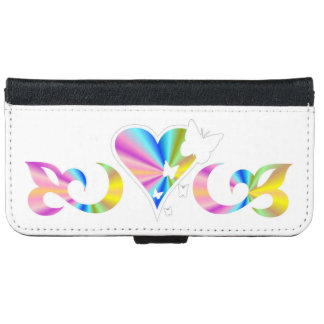 Rainbow Heart Lily and Butterfly iPhone 6 Wallet Case