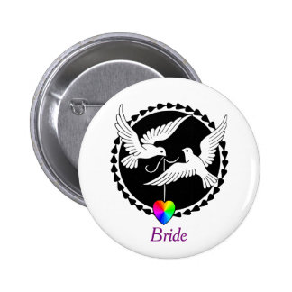 Rainbow Heart Love Doves Lesbian Bride's Badge