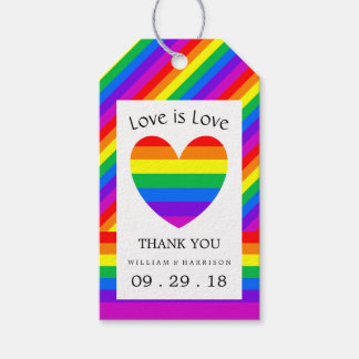 Rainbow Heart Love is Love Wedding Gift Tags