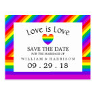 Rainbow Heart Love is Love Wedding Save The Date Postcard