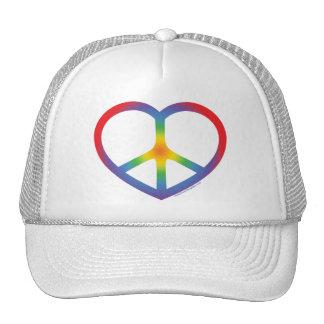 Rainbow Heart, Love, Peace Sign Cap
