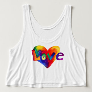 Rainbow Heart Love Word Flowing Tank Top