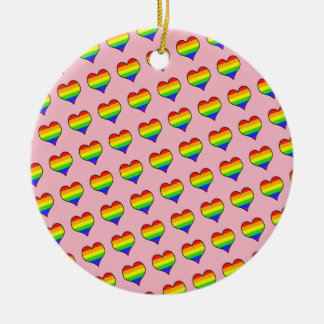 Rainbow Heart Pattern Ceramic Ornament