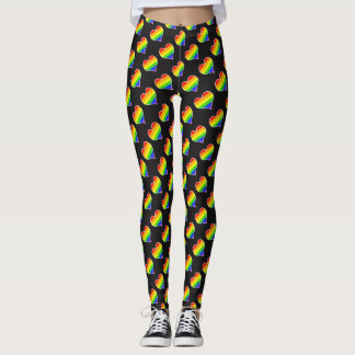 Rainbow Heart Pattern Leggings