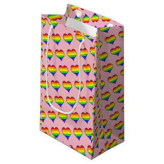 Rainbow Heart Pattern Small Gift Bag