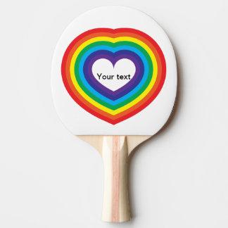 Rainbow heart ping pong paddle