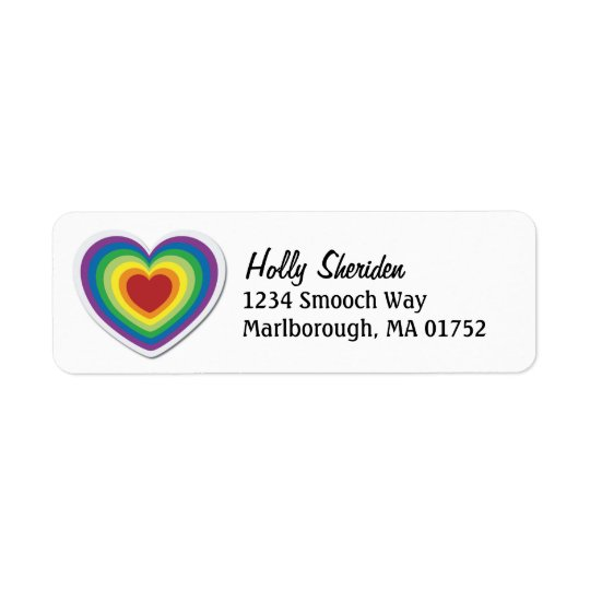 Rainbow Heart Return Address Label