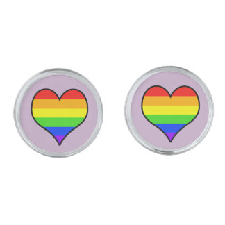 Rainbow Heart Silver Finish Cuff Links