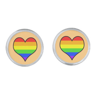Rainbow Heart Silver Finish Cufflinks