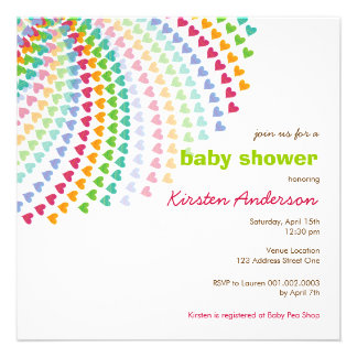 Rainbow Heart Sprinkles Baby Shower Invitation Custom Announcements