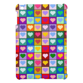 Rainbow heart squares cover for the iPad mini