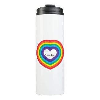 Rainbow heart thermal tumbler