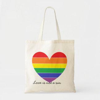 Rainbow Heart Budget Tote Bag