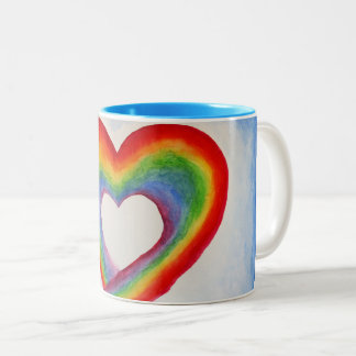 Rainbow Heart Two-Tone Coffee Mug
