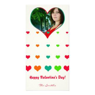 Rainbow Heart Valentine Photo Card