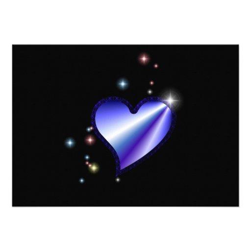 Rainbow heart with asterisks on black custom invitations