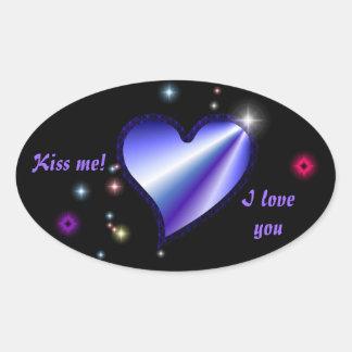 Rainbow heart with asterisks on black oval sticker
