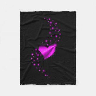 Rainbow Heart with Stars Fleece Blanket