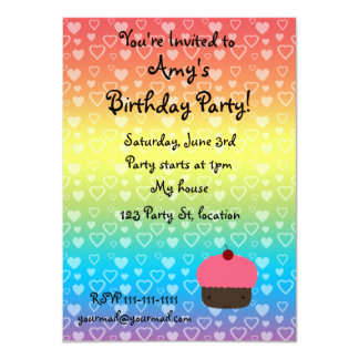 Rainbow hearts birthday cupcake invitation