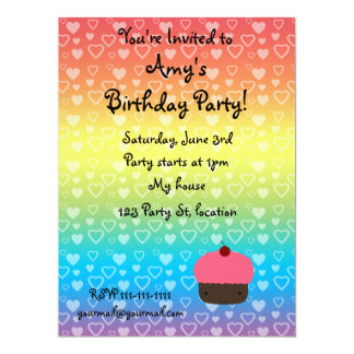 "Rainbow hearts birthday cupcake invitation 6.5"" x 8.75"" invitation card"