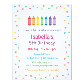 Rainbow Hearts Crayons Arts Crafts Birthday Party Card