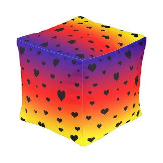 Rainbow Hearts, Full Print Pouffe. Pouf