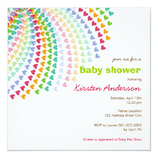 Rainbow Hearts Fun Sprinkles Baby Shower Invite