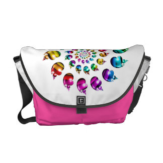Rainbow Hearts Gay Pride LGBT Messenger Bag White