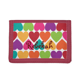 Rainbow Hearts Girls Personalized Wallet