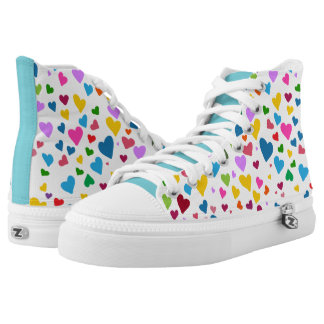 Rainbow Hearts High Tops, Colorful, Fun, Unique High Tops