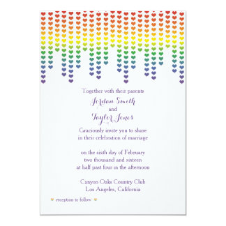 Rainbow Hearts Invitation