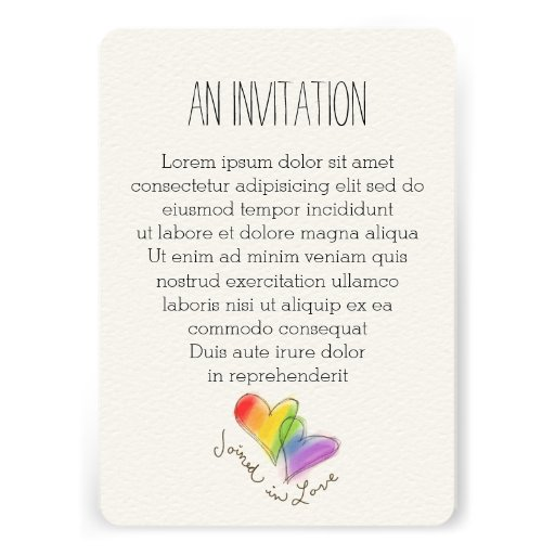 Rainbow Hearts Joined In Love Invitation