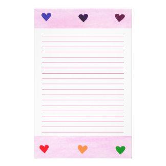 Rainbow Hearts Lined Stationery