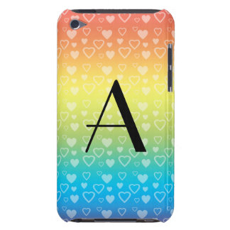 Rainbow hearts monogram barely there iPod cover