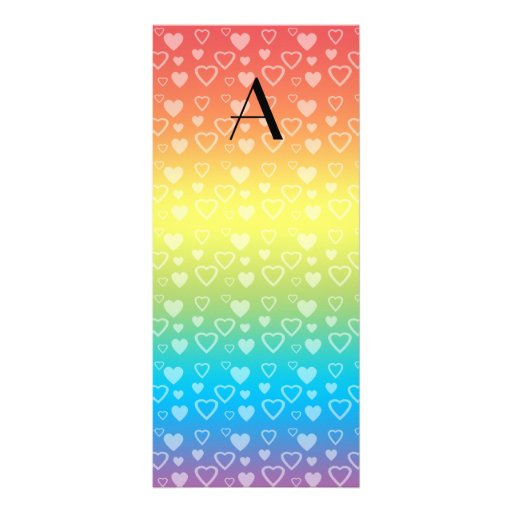 Rainbow hearts monogram rack card template