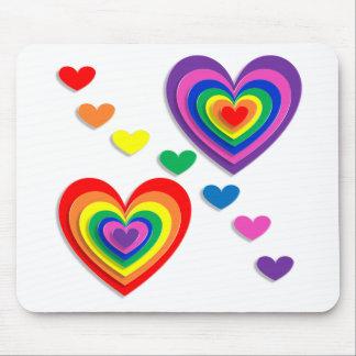Rainbow Hearts Mouse Pad