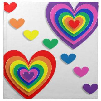 Rainbow Hearts Napkin