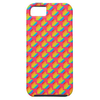 Rainbow hearts pattern on pink tough iPhone 5 case
