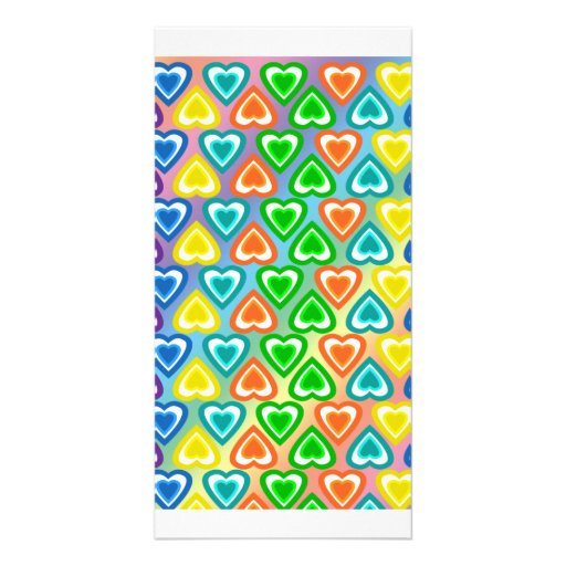 Rainbow hearts pattern picture card