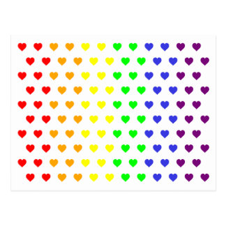 Rainbow Hearts Save The Date Postcard