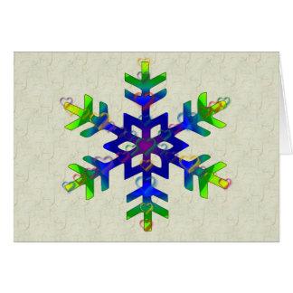 Rainbow Hearts Snowflake Greeting Card