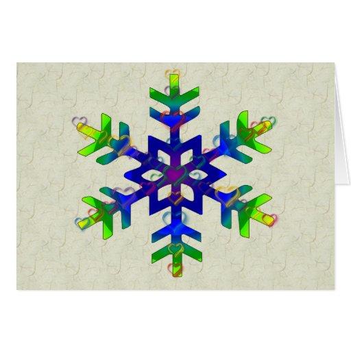Rainbow Hearts Snowflake Card
