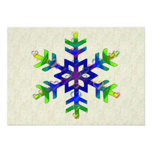 Rainbow Hearts Snowflake Custom Invitation