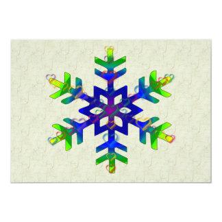 Rainbow Hearts Snowflake 5x7 Paper Invitation Card