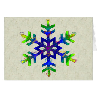 Rainbow Hearts Snowflake Note Card