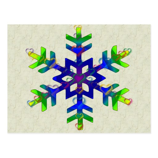 Rainbow Hearts Snowflake Post Cards
