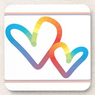 Rainbow Hearts together forever Coaster